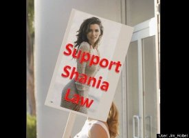 over photo of model named Shania: support Shania law