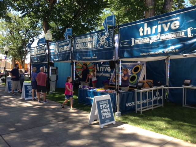 Photo of the Kaiser Permanente boardwalk tent at the Colorado State Fair in 2014.