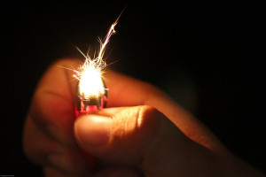Photo of spark coming from a lighter