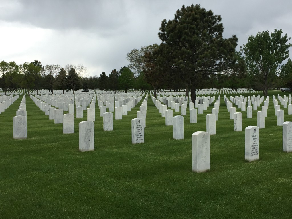 Tombstones march into distance at Fort Logan National Cemetery
